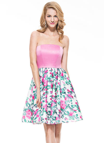 A-Line/Princess Satin Prom Dresses Strapless Sleeveless Knee-Length (018076008)
