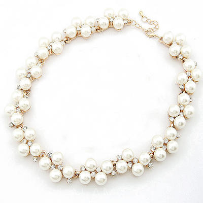 Necklaces Alloy/Pearl Rhinestone Lobster Clasp Ladies' Wedding & Party Jewelry (011164604)