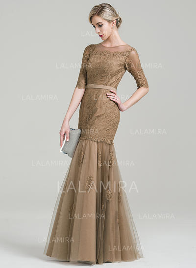 Trumpet/Mermaid Scoop Neck Floor-Length Tulle Lace Mother of the Bride Dress (008085302)