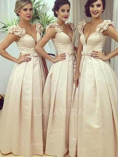 A-Line/Princess Satin Bridesmaid Dresses Sash V-neck Sleeveless Floor-Length (007211687)
