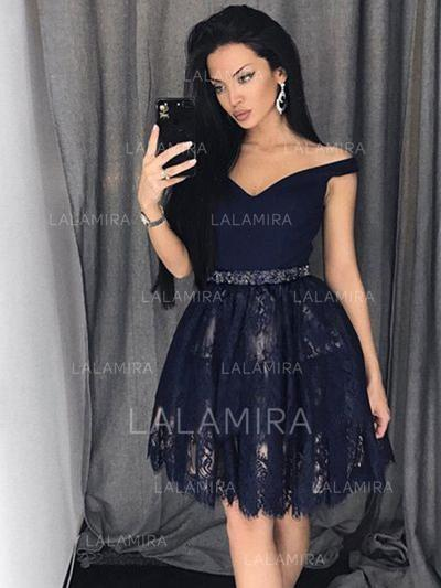 Hors-la-épaule Forme Princesse Dentelle Moderne Robes de soirée étudiante (022212449)