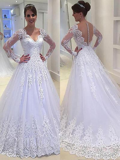 Flattering Lace Beading Appliques A-Line/Princess With Tulle Wedding Dresses (002147984)