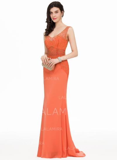 Trumpet/Mermaid V-neck Sweep Train Chiffon Prom Dresses With Beading (018163104)