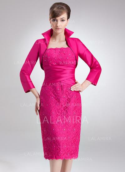 Sheath/Column Square Neckline Knee-Length Taffeta Lace Mother of the Bride Dress With Ruffle Beading (008006172)