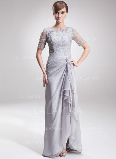 Split Front Cascading Ruffles Scoop Neck Glamorous Chiffon Lace Mother of the Bride Dresses (008005621)