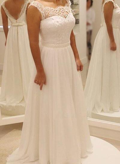 Delicado Lazo(s) Corte A/Princesa con Gasa Vestidos de novia (002144871)