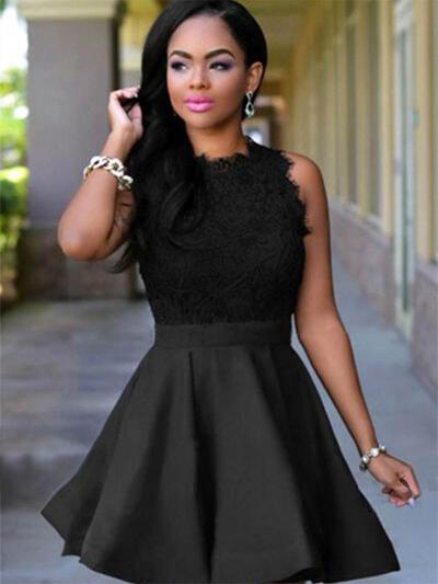 Corto/Mini Escote redondo Satén Princesa Baile de promoción (016218421)