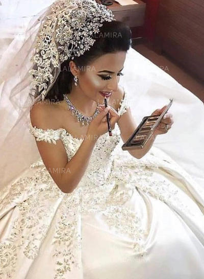 Ball-Gown Off-The-Shoulder Court Train Wedding Dresses With Appliques Lace (002217900)