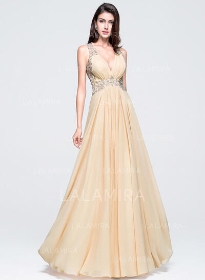 A-Line/Princess V-neck Floor-Length Chiffon Prom Dresses With Beading Appliques Lace Sequins (018070356)