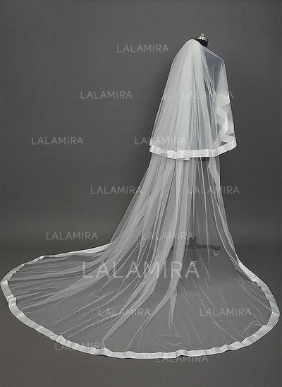 Cathedral Bridal Veils Tulle Two-tier Drop Veil/Cascade With Ribbon Edge Wedding Veils (006151232)