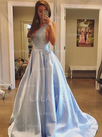 Corte A/Princesa Volantes Escote en V con Satén Vestidos de noche (017212133)