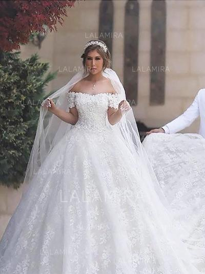 Appliques Ball-Gown With Tulle Wedding Dresses (002148014)