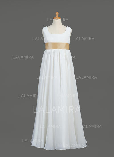 Newest Scoop Neck Empire Flower Girl Dresses Floor-length Chiffon/Taffeta Sleeveless (010005914)