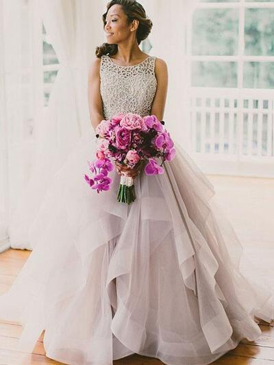 Elegant Cascading Ruffles Ball-Gown With Tulle Wedding Dresses (002144816)