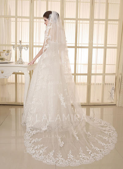 Cathedral Bridal Veils Tulle/Lace One-tier Oval With Lace Applique Edge Wedding Veils (006152091)
