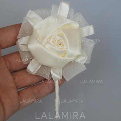 "Boutonniere Round Wedding/Party Satin 4.33""(Approx.11cm) Wedding Flowers (123190061)"