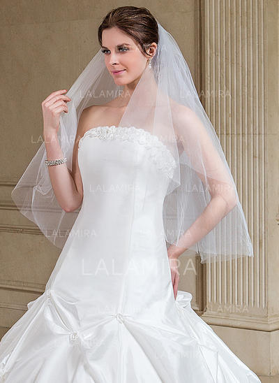 Fingertip Bridal Veils Tulle Two-tier Classic With Cut Edge Wedding Veils (006151612)