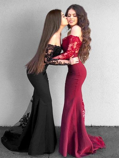 Satin Long Sleeves With Trumpet/Mermaid 2019 New Prom Dresses (018218139)