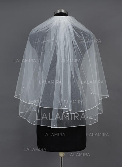 Elbow Bridal Veils Tulle Two-tier Classic With Pencil Edge Wedding Veils (006151551)