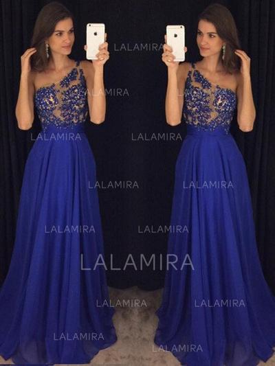Beading One-Shoulder With A-Line/Princess Chiffon Evening Dresses (017217828)