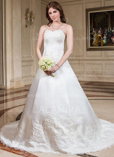 Lace Beading Sleeveless Ball-Gown - Satin Wedding Dresses (002196847)