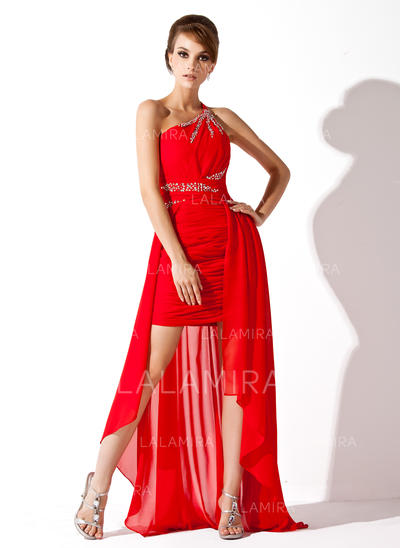 Gasa Delicado Corte A/Princesa Asimétrico Vestidos de baile de promoción (018021113)