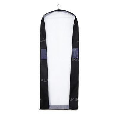 Garment Bags Dress Length Side Zip Tulle/Faux Leather Black Wedding Garment Bag (035192304)