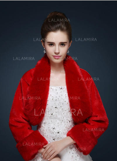 Wrap Wedding Faux Fur Long Sleeve Ivory Red Wraps (013150089)