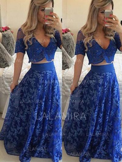 Beautiful V-neck A-Line/Princess Lace Prom Dresses (018218120)