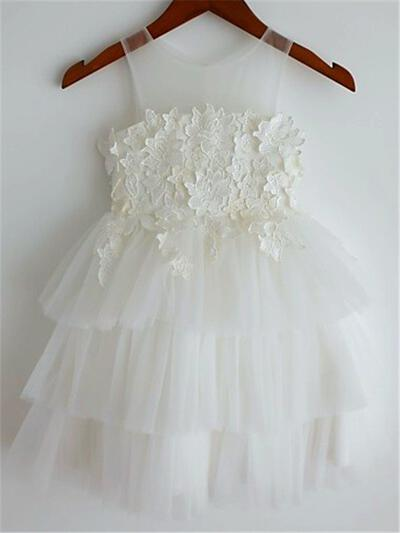 Scoop Neck A-Line/Princess Flower Girl Dresses Tulle Appliques Sleeveless Knee-length (010211898)