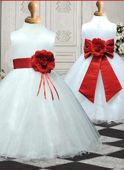 Ball Gown Scoop Neck Knee-length With Sash/Flower(s)/Bow(s) Satin/Tulle Flower Girl Dresses (010211810)