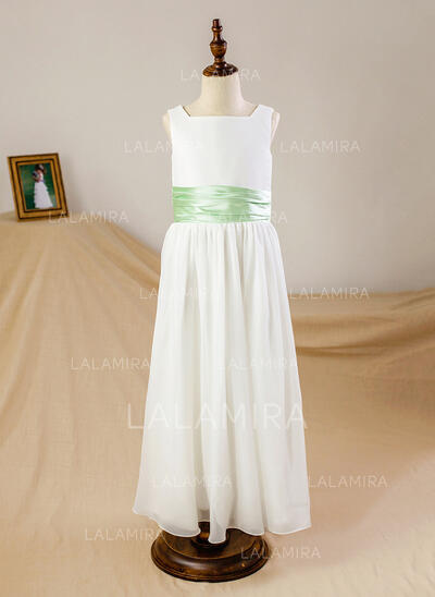 A-Line/Princess Ankle-length Flower Girl Dress - Chiffon/Satin Sleeveless Square Neckline With Sash (010093740)