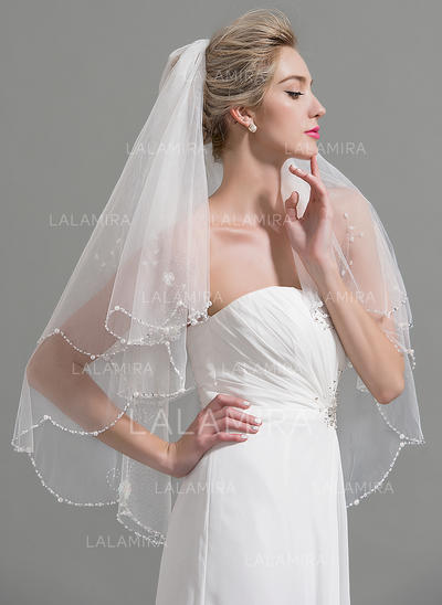 Fingertip Bridal Veils Tulle Two-tier Classic With Beaded Edge Wedding Veils (006151926)