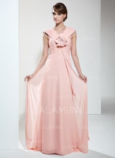 Deslumbrante Escote en V Corte imperial Gasa Vestidos de madrina (008211224)