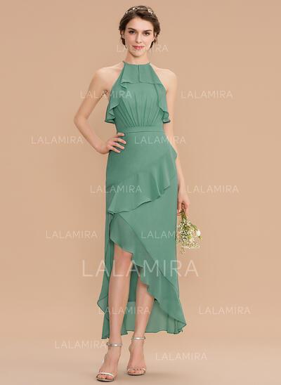 Corte A Decote redondo Assimétrico Tecido de seda Vestido de madrinha (007176774)