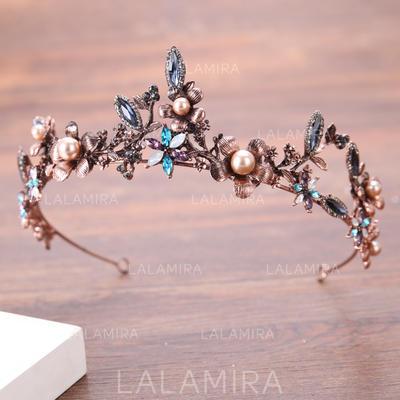 Señoras Hermoso Rhinestone/Aleación/La perla de faux Tiaras con Rhinestone/Perla Veneciano (042138721)