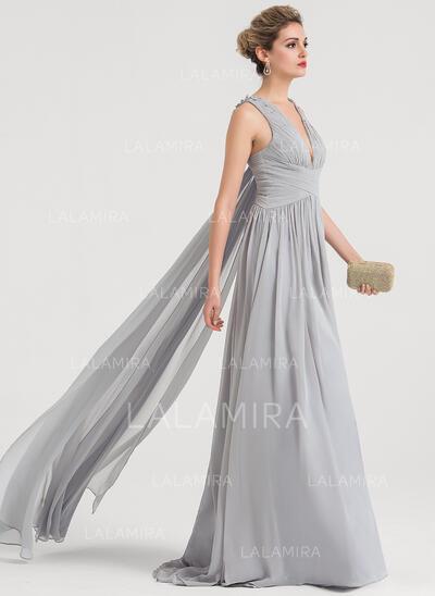 A-Line/Princess V-neck Sweep Train Chiffon Evening Dress With Beading Sequins (017147943)