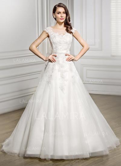 Sans manches Standard Grande taille Encolure dégagée avec Tulle Dentelle Robes de mariée (002056944)