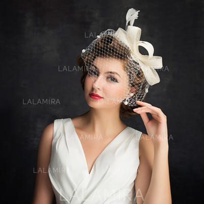 Cambric/Feather/Tulle With Feather Fascinators Simple Ladies' Hats (196194191)