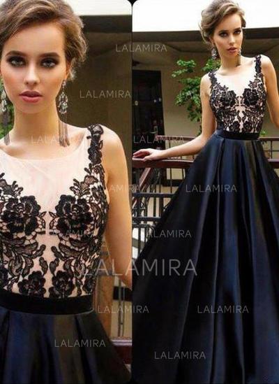 Satin Sleeveless A-Line/Princess Evening Dresses Floor-Length (017145732)