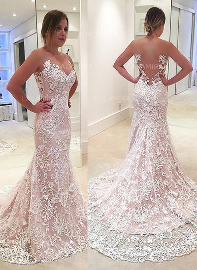 Trumpet/Mermaid With Lace Wedding Dresses (002148015)