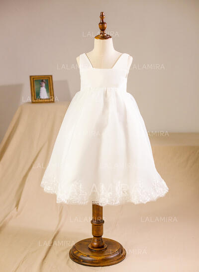 A-Line/Princess Knee-length Flower Girl Dress - Organza Sleeveless Square Neckline With Lace (010094150)