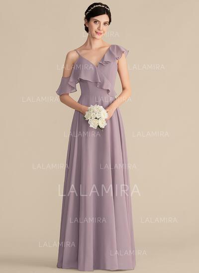 Vestidos princesa/ Formato A Decote V Longos Tecido de seda Vestido de madrinha com Babados em cascata (007165851)