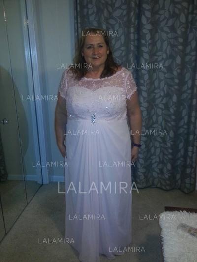 A-Line/Princess Chiffon Short Sleeves Scoop Neck Floor-Length Zipper Up Mother of the Bride Dresses (008212702)