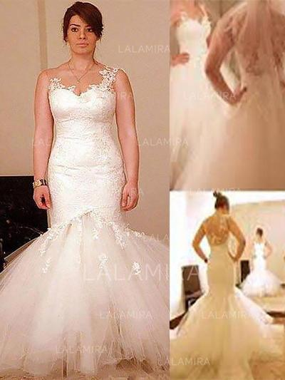 Appliques Scoop Neck Trumpet/Mermaid - Tulle Wedding Dresses (002210878)