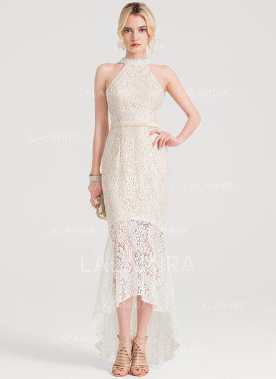 Trumpet/Mermaid Scoop Neck Asymmetrical Lace Cocktail Dress (016150188)