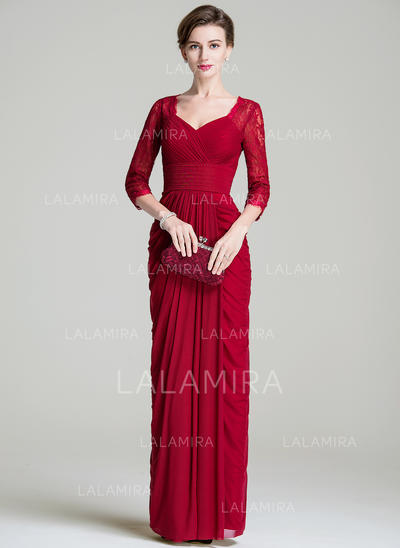 Sheath/Column Sweetheart Floor-Length Mother of the Bride Dresses With Ruffle (008072686)