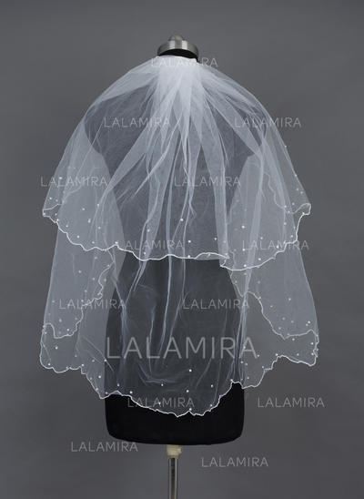 Fingertip Bridal Veils Tulle Two-tier Classic With Scalloped Edge/Beaded Edge Wedding Veils (006151543)
