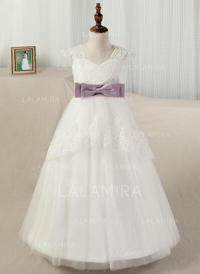 De baile Sweep/Brush trem Vestidos de Menina das Flores - Cetim/Tule/Renda alças de ombro com Cintos/Apliques de Renda (010130851)