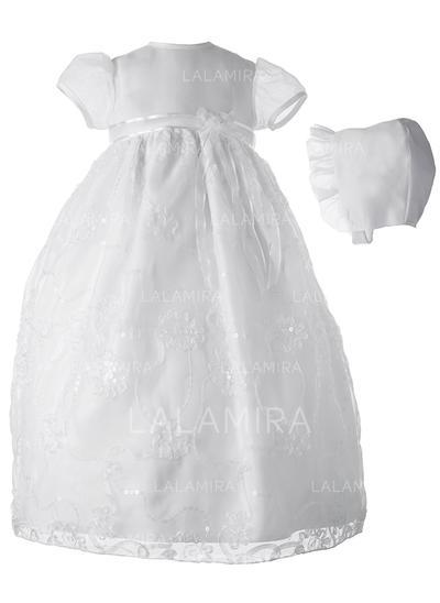 Tulle Pailleté Col rond Robes de baptême bébé fille avec Manches courtes (2001217393)
